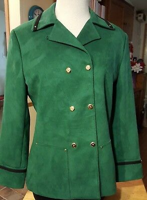 St. John collection by Marie Gray blazer green lined size P double breasted snap