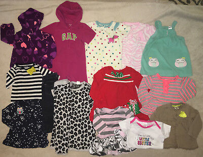 14 Piece Lot Baby Girl Clothing Size 12 & 18 Months Winter Fall GAP H&M