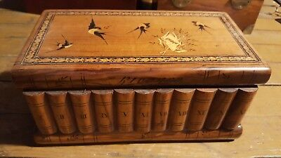 Antique Sorrento Ware Italy Wood Inlaid Swallows Birds Puzzle Book Box