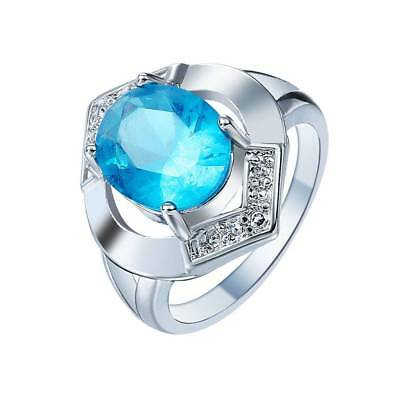 925 Sterling Silver Sky Blue Oval Gemstone Ring Crystal Simulated Stone Women US