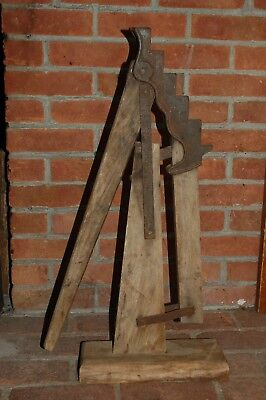 Antique 1870 Solid Wood & Iron Conestoga Wagon Jack Carriage Buggy