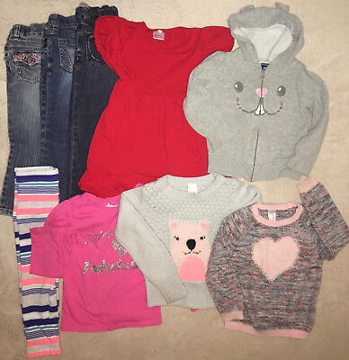 9 Piece Lot Toddler Baby Girl Clothing Size 3T & 4T Winter Fall