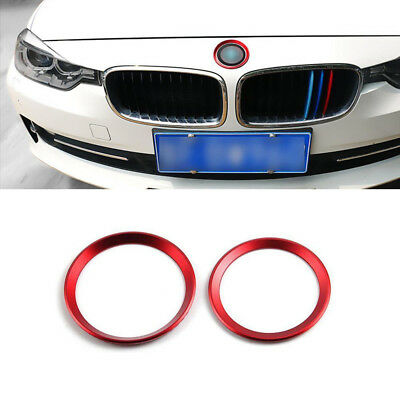 2pc Metallic Front Rear Logo Ring Covers Trims Fit for BMW F30 E90 3 4 Series M3