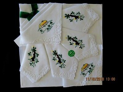 6 Irish Linen Hankies Handkerchiefs Embroidered