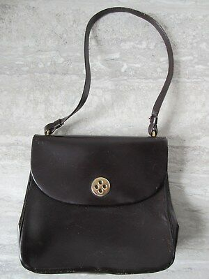 Bonwit Teller Roger Model Brown Leather Handbag Purse Made in France