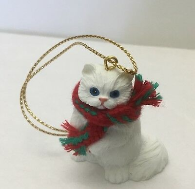 White Persian Cat/Kitty Tiny One Resin Ornament  Memorial New In Package Adorabl