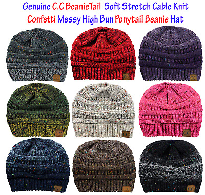 06bb3c2a9fe865 CC BeanieTail CONFETTI Soft Stretch Cable Knit Messy High Bun Ponytail  Beanie
