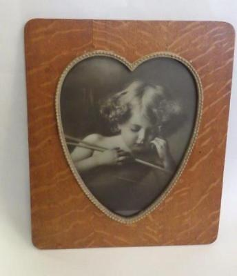 Antique Large Victorian Print Cupid Asleep Wood Frame Beaded Heart SUPERB! d1897