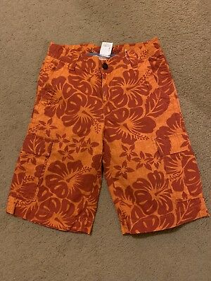 LANDS END Boys  Tropical Cargo Shorts Size 12 - New