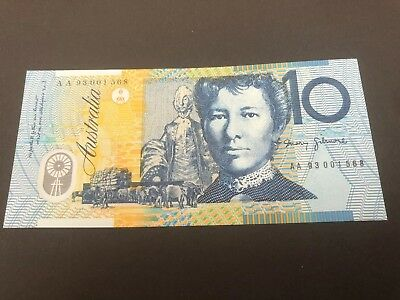 First Prefix AA93 UNC $10 Note With Overprint