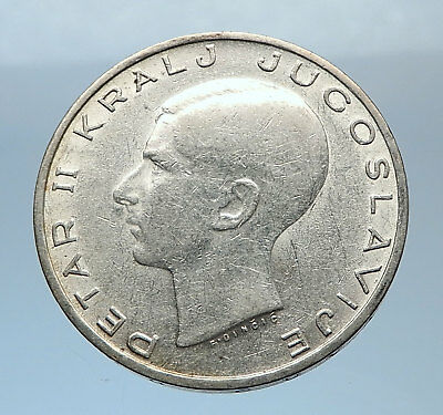 1938 YUGOSLAVIA King Peter II w Eagle Antique Silver 20 Dinara Coin i72451