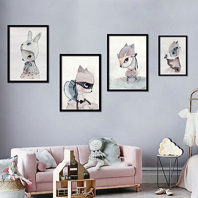 Nordic Style Deer Rabbit Poster Wall Art Painting Canvas Kids Room Decor Home