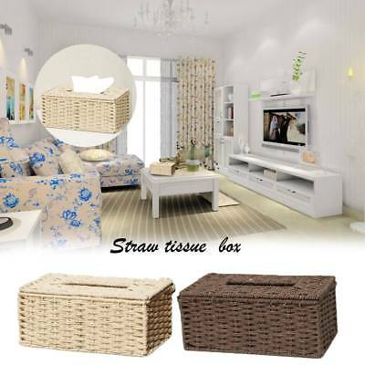 Handmade Tissue Box Cover Hand-Woven Wicker Holder Bathroom Decor Natural New