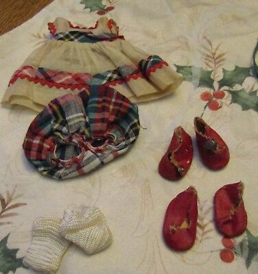 Vintage 1952 Strung Ginny Kindergarten Plaid Vogue Dress and Oil Cloth Shoes