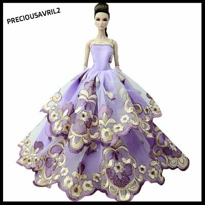 Brand new barbie doll clothes outfit princess wedding purple embroidered dress