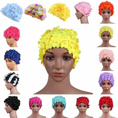 Women Lady Stretchy Swimming Cap 3D Petal Flower Long Hair Swim Bathing Hat AU