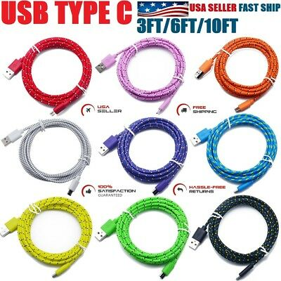 LOT Nylon Braided Rope USB-C Type-C 3.1 Data Sync Charger Charging Cable Cord