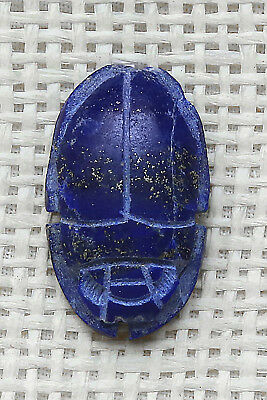 RARE EGYPTIAN SCARAB Antique EGYPT AMULET Beetle Natural LAPIS LAZULI Stone 1945