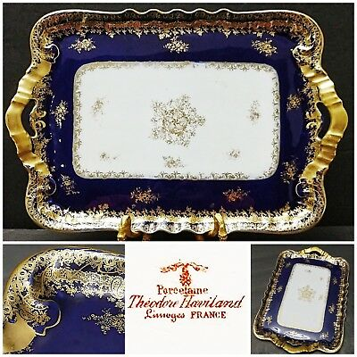 Antique Theodore Haviland Limoges Cobalt Blue Heavy Gold Serving Tray/Platter