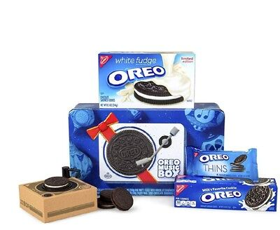 Oreo Music Box Cookie Record Player & Collectible Holiday Gift Tin Rare Item