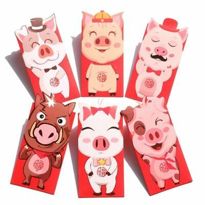 6pcs Pig Pattern Red Envelope To Fill In Money Chinese Hongbao Tradition Gifts
