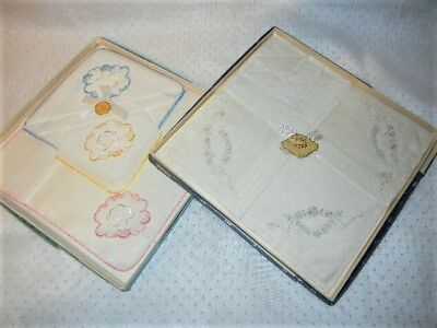 VINTAGE BOXED sets of LADIES SWISS HANDKERCHIEFS EMBROIDERED LOT OF TWO (2)