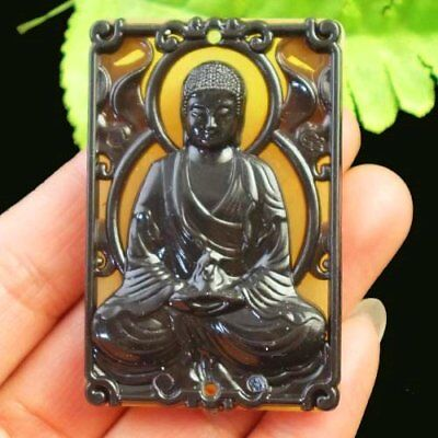Imitated Chinese Old Jade Buddha Oblong Pendant Bead 57x38x11mm X39579