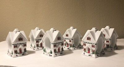 QTY 6 New Lenox Sleighride Unique House Christmas Napkin Rings Debut Collection