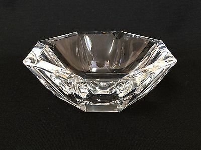 Vintage Crystal Ashtray Saint Louis France Geometric Faceted Shape  Etched Logo
