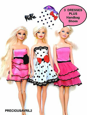 Brand new barbie doll clothes clothing sets 3 party dresses casual summer