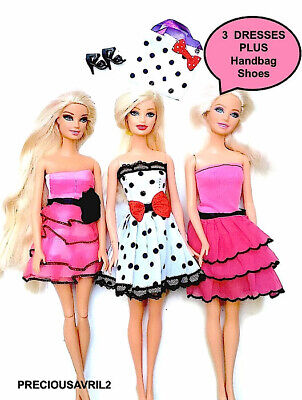 New barbie doll clothes clothing sets 3 party dresses casual summer