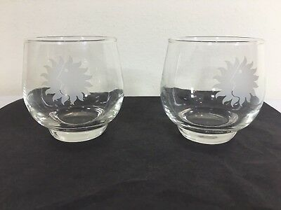 National Airlines Two Glasses Etched Sun King First Class Bar Service Vintage