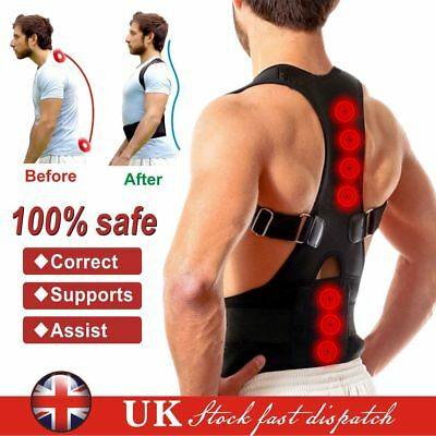 Neoprene Magnetic Posture Corrector Bad Back Lumbar Shoulder Support Belt Brace