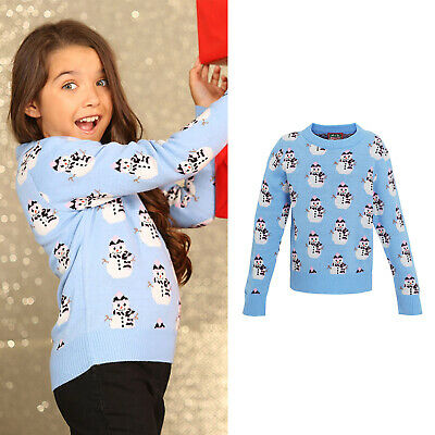 Girls snowman knitted jumper for Christmas- Blue and White - Ages 2-12