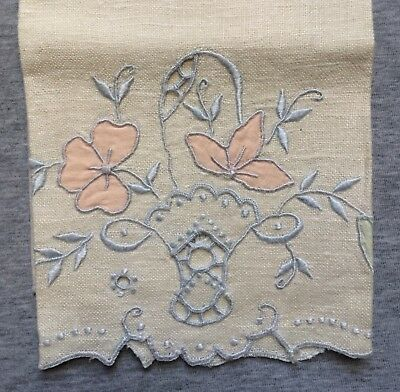 Antique Italian Linen Towel Cut Work & Embroidery Pink & Blue Hand Made