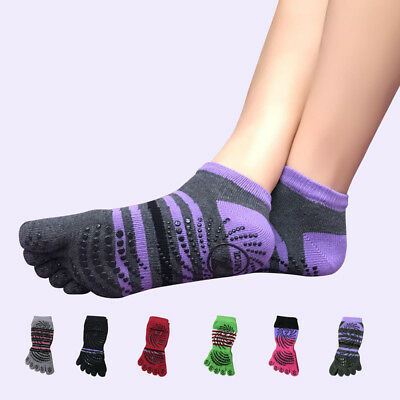 Women Five Finger Toe Indoor Yoga Socks Lady Anti-slip Fitness Ankle Grip Socks