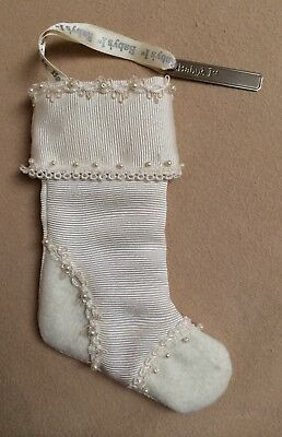 Baby's 1st Christmas Stocking Xmas Stocking with Silverplate Engraving Tag