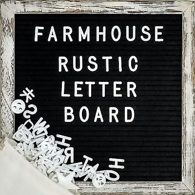 Farmhouse Wall Decor Felt Letter Board - 10x10 Inch Rustic Wood Frame, Black ...
