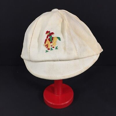 Vintage 1940s 1950s Toddler Boy Hat Newsboy Cap Embroidered Cowboy Horse