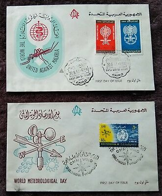 Egypt/UAR 2 First Day Covers.1962 World Meteorological Day + Wld Against MALARIA