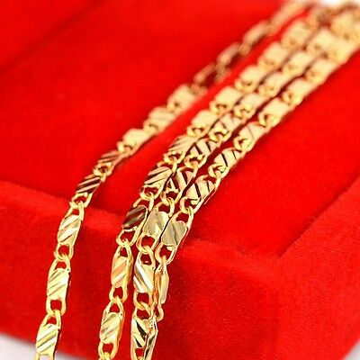 18K Yellow Gold Plated Link Chain Girls Fashion Gift New Chain Necklace Flat