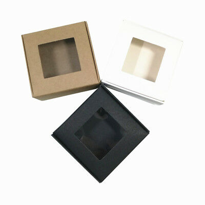 Kraft Paper Packaging Boxes With Window Crafts Gifts Favors Packing Box Storage