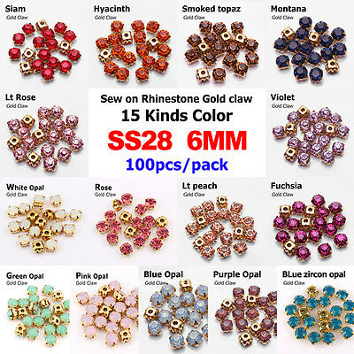 100pc 6mm faceted crystal glass Sew On Cup Rhinestone Montees Gold Claws beads