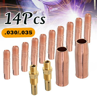 "14x MIG Torch Welding Tool Contact Tip 0.030""/0.035"" Gas Nozzle Gas Diffuser Kit"