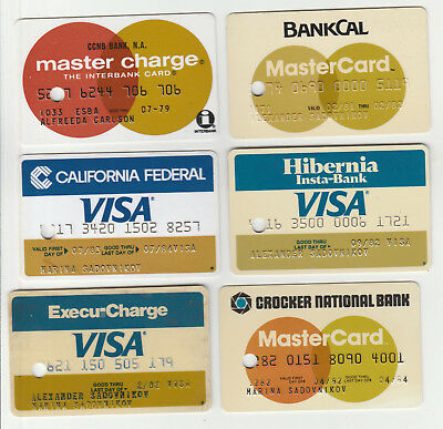 Hibernia,bankcal,crocker-6 Assorted Expired Vintage Cc-Single Punch Hole-As Is