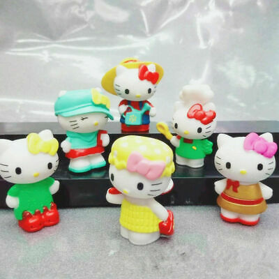 6PCS Hello Kitty cat Action Figures cake decoration landscape kid's toys gift
