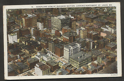 USA  St.Louis Mo.Aeroplane View of Buisness Section Nortwest alte Ansichtskarte