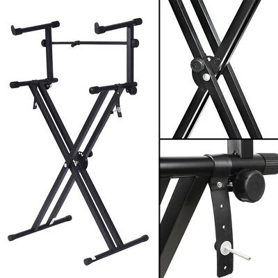 2-Tier Heavy Duty X Frame Folding Adjustable Keyboard Dual Braced Piano Stand