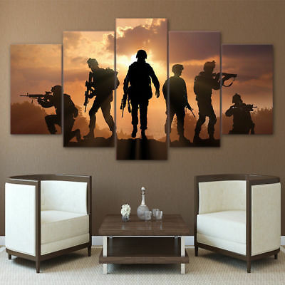 Framed Home Decor Sunset Army Soldier Canvas Print Painting Wall Art Poster 5PCS