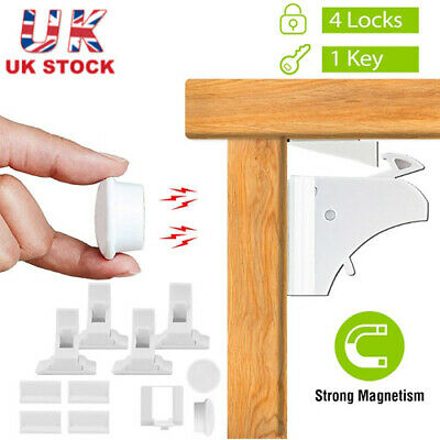 4pcs Invisible Baby Safety Magnetic Cabinet Lock Cupboards Drawers Child Proof